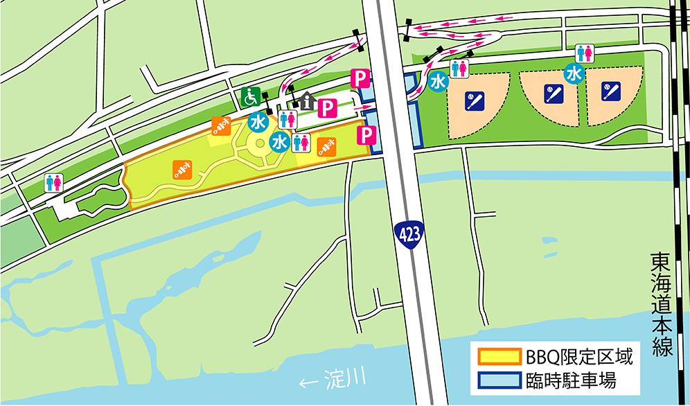 淀川河川公園西中島地区バーベキューマップ