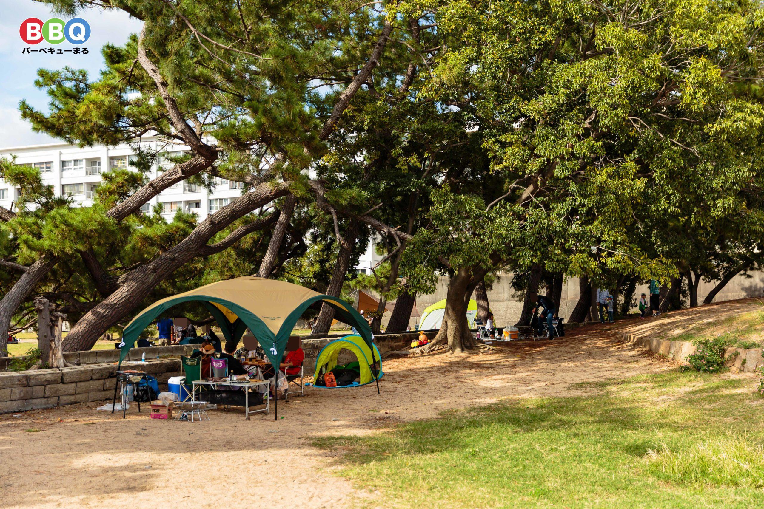 御前浜でバーベキューを楽しむ人たち