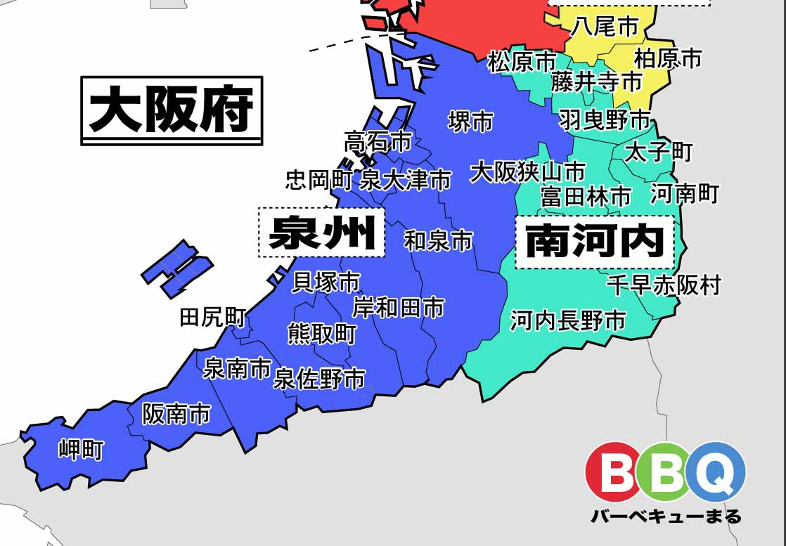 大阪府南部の地図