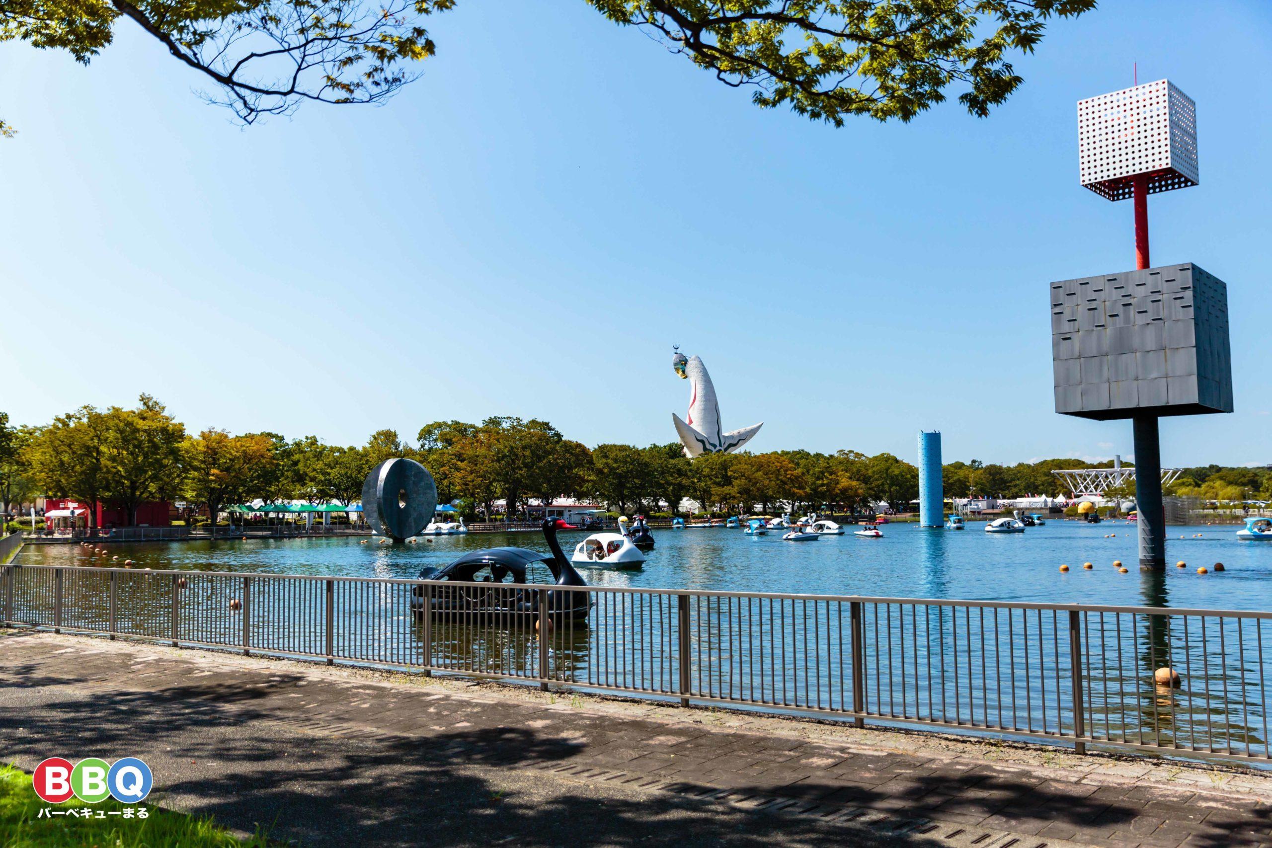 万博記念公園夢の池のスワンボート(サイクルボート)