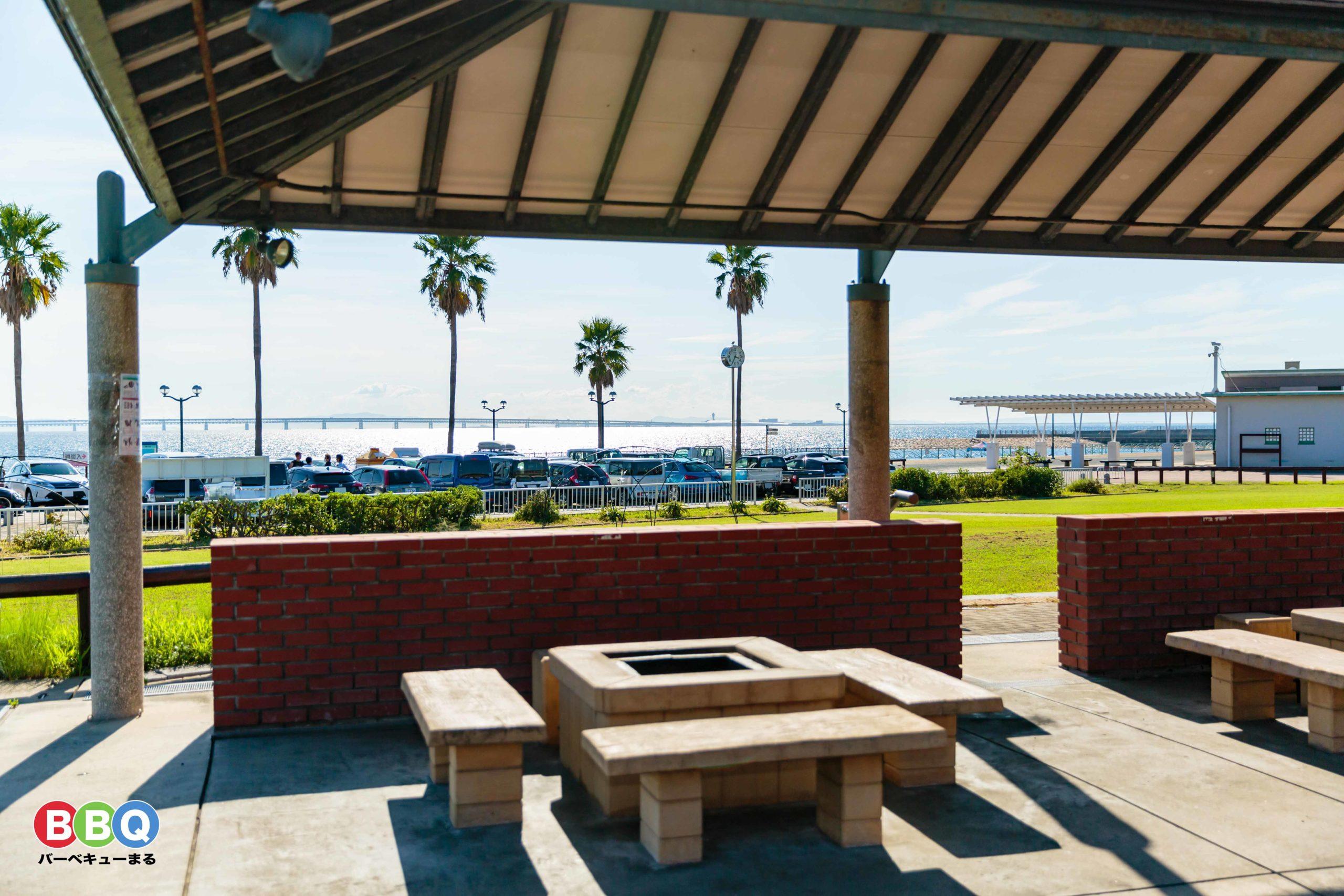 二色の浜公園海浜緑地有料BBQ施設からの眺め