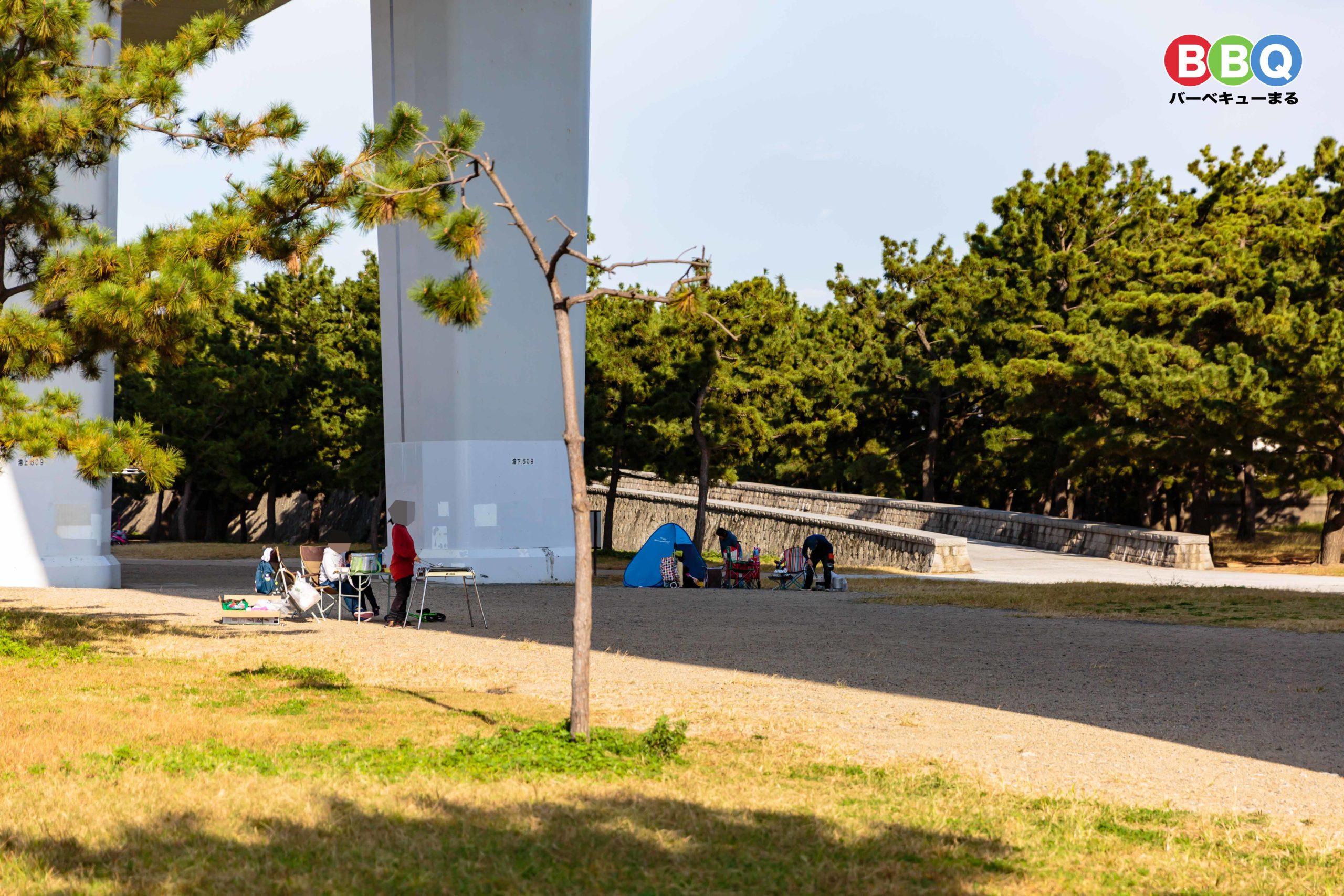 二色の浜中央地区無料BBQ可能区域でBBQする人たち