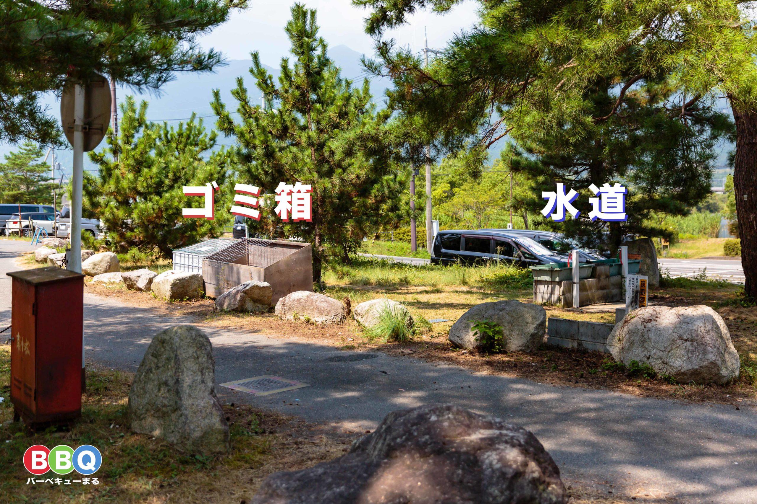 近江舞子中浜水泳場の水道、ゴミ箱